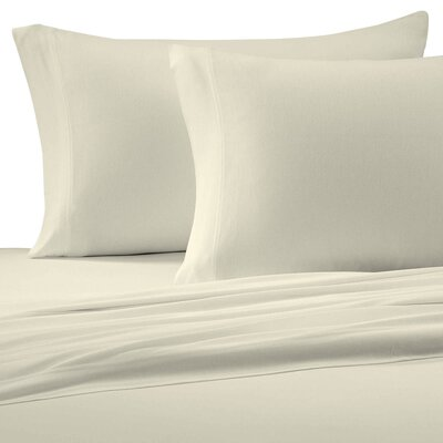 Jersey Cotton Knit Pillow Case Size: Standard, Color: Ivory