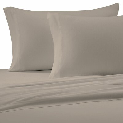 Jersey Knit Pillow Case Size: Standard, Color: Tan