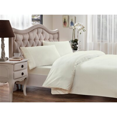 Tencel-Lyocell Sateen 300 Thread Count Duvet Cover Size: Full/Queen, Color: Ivory