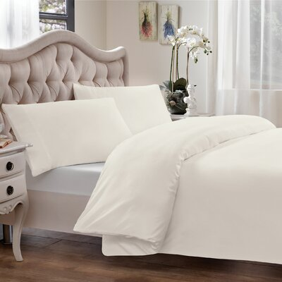 Modal Reversible Duvet Cover Set Size: Full/Queen, Color: White