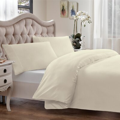 Modal Reversible Duvet Cover Set Size: Full/Queen, Color: Cream