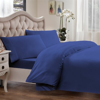 Egyptian Quality Cotton Sateen Premium 600 Plus Thread Count Duvet Size: King, Color: Cobalt Blue