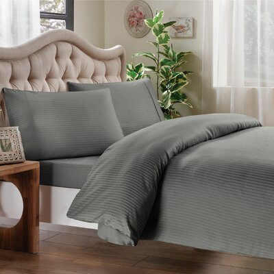 Egyptian Quality Cotton Sateen Premium 600 Plus Thread Count Duvet Size: Full/Queen, Color: Linen Grey Stripe