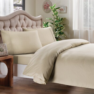 Egyptian Quality Cotton Sateen Premium 600 Plus Thread Count Duvet Size: King, Color: Canvas Stripe