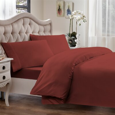 Egyptian Quality Cotton Sateen Premium 600 Plus Thread Count Duvet Size: King, Color: Brick Red