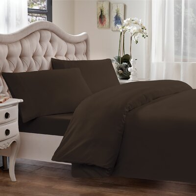 Egyptian Quality Cotton Sateen Premium 600 Plus Thread Count Duvet Size: Full/Queen, Color: Chocolate