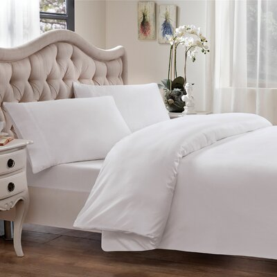 Egyptian Quality Cotton Sateen Premium 600 Plus Thread Count Duvet Size: King, Color: White