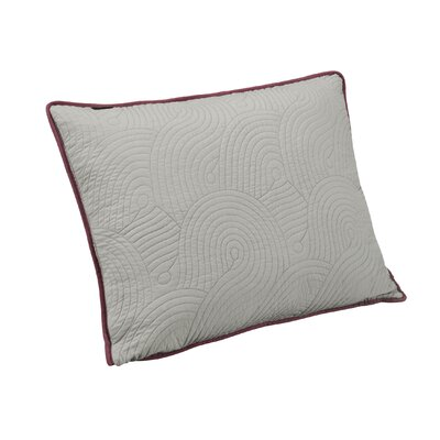 Wave Sham Size: King, Color: Deco Rose/Gray