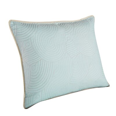 Wave Sham Size: King, Color: Seafoam/Linen