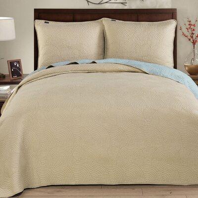 Wave 3 Piece Reversible Quilt Set Size: Full/Queen, Color: Seafoam/Linen
