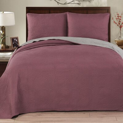 Wave 3 Piece Reversible Quilt Set Size: King, Color: Deco Rose/Gray