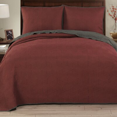 Honeycomb 3 Piece Reversible Quilt Set Size: King, Color: Red/Grey