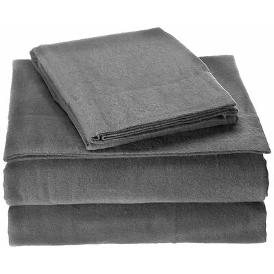 100% Cotton Flannel Sheet Set Color: Gray, Size: Queen
