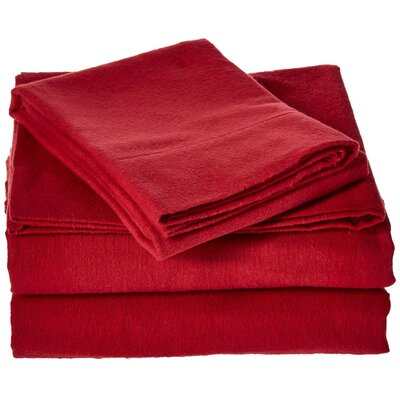 100% Cotton Flannel Sheet Set Color: Red, Size: Queen