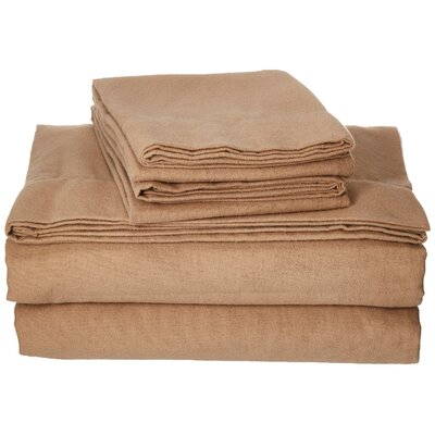 100% Cotton Flannel Sheet Set Color: Taupe, Size: King