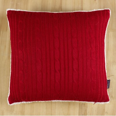 Cozy Cable Knit Throw Pillow Color: Red