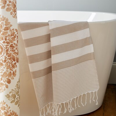 Pestemal Striped Turkish Bath Towel Color: Linen