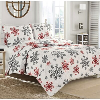 Red Snowflake 100% Cotton Sheet Set Size: Full