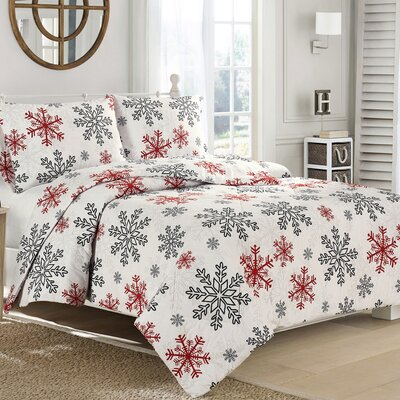 Snowflake Flannel Down Alternative Comforter Size: Twin