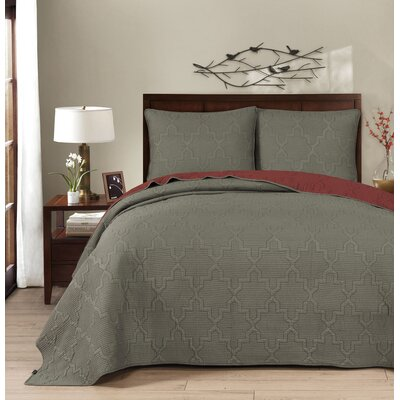 Casablanca Reversible Quilt Set Size: Full/Queen, Color: Russet Red/Gunmetal