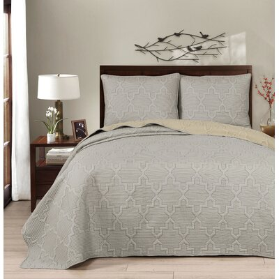 Casablanca Reversible Quilt Set Size: Full/Queen, Color: Gray/Linen