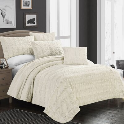 Nesting Faux Fur Throw Blanket Size: King, Color: Snow Goose