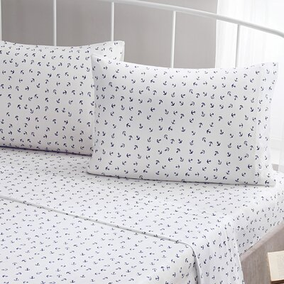 Anchors 100% Cotton Jersey Pillow Case Size: King