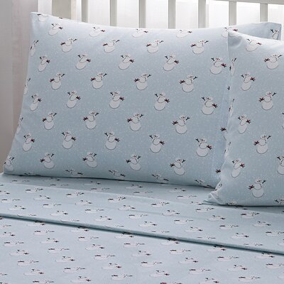 Snowman 100% Cotton Flannel Sheet Set Size: Twin