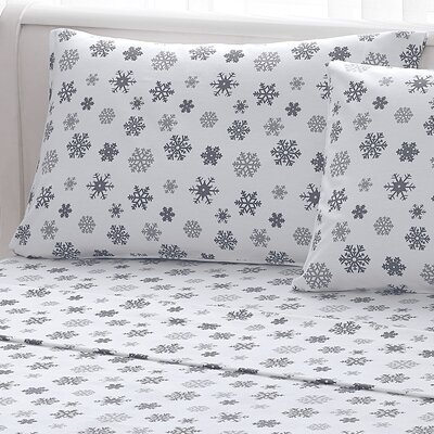 Big Snowflake 100% Cotton Flannel Sheet Set Size: King, Color: Gray