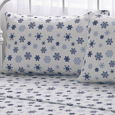 Big Snowflake 100% Cotton Flannel Sheet Set Size: Twin, Color: Blue