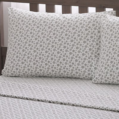 Snowflake 100% Cotton Flannel Sheet Set Size: Queen, Color: Taupe
