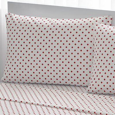 100% Cotton Pillow Cases Color: Red