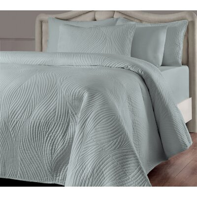 Stream Reversible Quilt Set Size: Twin, Color: Seafoam