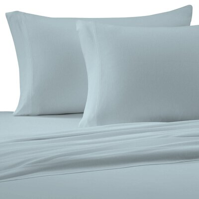 Jersey Cotton Knit Pillow Case Size: Standard, Color: Light Blue