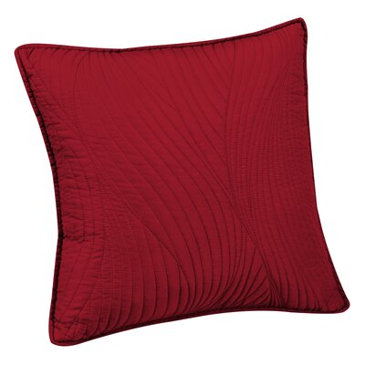 Stream Embroidered Euro Sham Color: Red