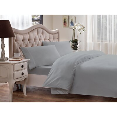 Tencel-Lyocell Sateen 300 Thread Count Duvet Cover Size: Full/Queen, Color: Glacier Gray
