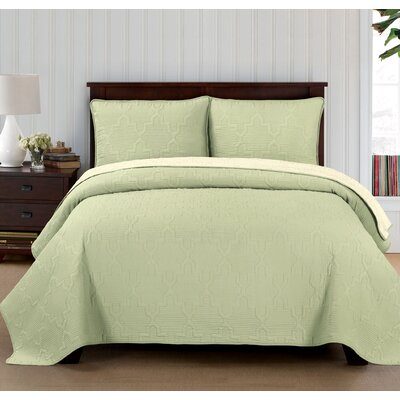 Casablanca Reversible Quilt Set Size: Twin, Color: Ivory/Sage