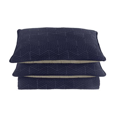 Honeycomb Sham Size: King, Color: Navy/Grey