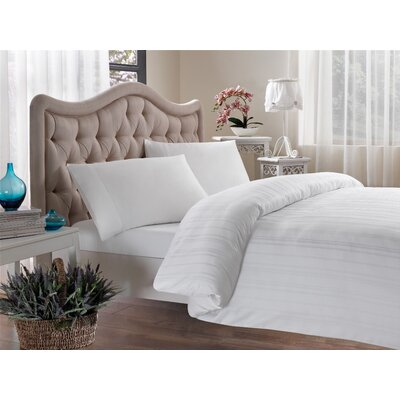 Egyptian Quality Cotton Sateen Premium 600 Plus Thread Count Duvet Size: King, Color: White Stripe