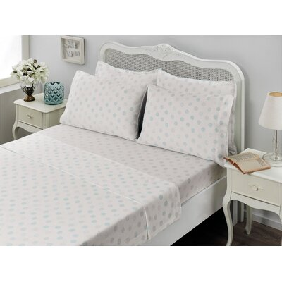 Circlets 100% Cotton Sheet Set Size: King, Color: Light Blue