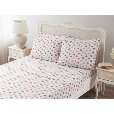 Circlets 100% Cotton Sheet Set Size: Queen, Color: Red