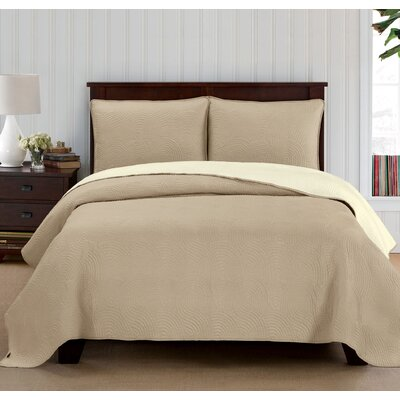 Wave Reversible Quilt Set Size: Twin, Color: Ivory/Linen