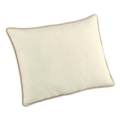 Wave Sham Size: King, Color: Ivory/Linen