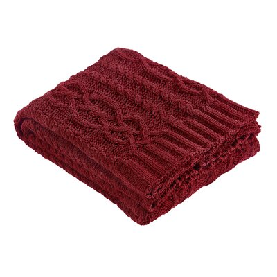 Chenille Braid Throw Color: Red