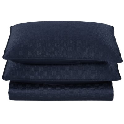 Basket Weave 2 Piece Sham Set Color: Navy, Size: Twin