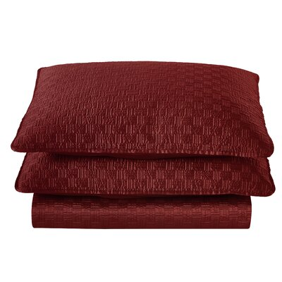 Basket Weave 2 Piece Sham Set Color: Red, Size: King