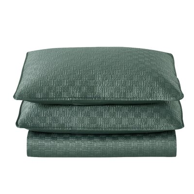 Basket Weave 2 Piece Sham Set Color: Seaglass, Size: King