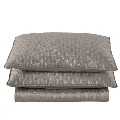 Basket Weave 2 Piece Sham Set Color: Gray, Size: King