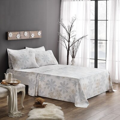 Snowflake 100% Cotton Sheet Set Size: Queen