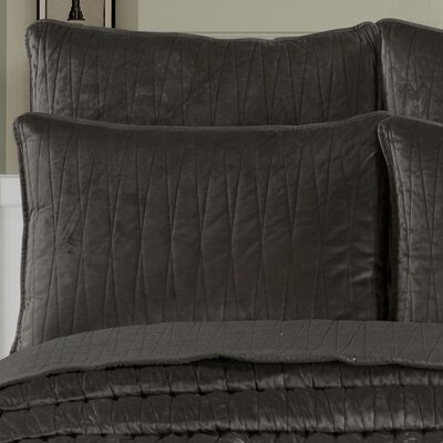Premium Velvet Pillow Sham Size: King, Color: Charcoal